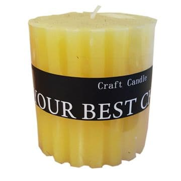 2 x YELLOW ROUND CRAFT SCENTED WAX CANDLES candle